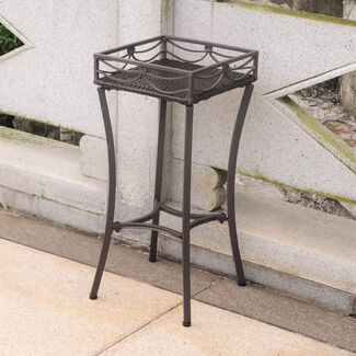 Valencia Steel-Frame Wicker Square Plant Stand