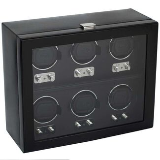 Six Piece Automatic Watch Winder with Cover by Wolf