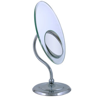 Zadro Tri-optics Oval Pedestal Vanity Mirror w/ Built-in Spot Mirror