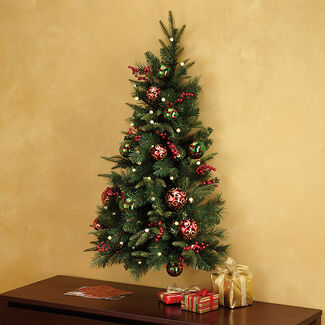 Pre-Lit and Pre-Decorated Hanging Wall Tree