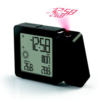 PROJI Projection Dual Alarm Atomic Clock with Automatic Daylight Saving Time System and Wireless Weather Station with Thermometer