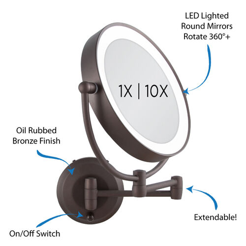 zadro led lighted cordless round double sided wall mount makeup mirror. Black Bedroom Furniture Sets. Home Design Ideas