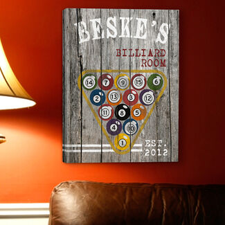Personalized Man Cave Canvas Print - Billiards
