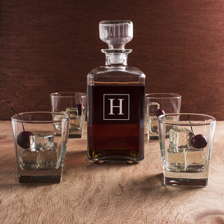Personalized Engraved 5 Piece Decanter Set by Cathy's Concepts