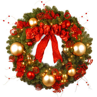 "Decorative Collection 36"" Cozy Christmas Wreath with Lights"