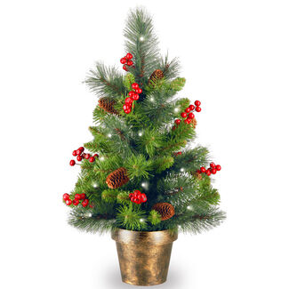 Crestwood Spruce Small Tree in Pot with Battery Operated LED Lights