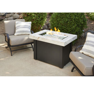 Providence Crystal Fire Pit Table Onyx Marbelized Top and Metal Base