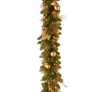 6 1/2' Elegance Garland with Battery Operated LED Lights & Timer