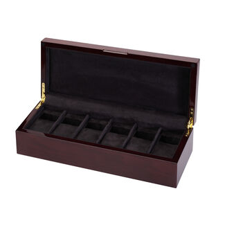 Diplomat 6-Watch Microfiber Suede-Lined Wooden Storage Case with Removable Cushions