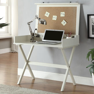 Elise Computer Desk with Flip Top Cork Board