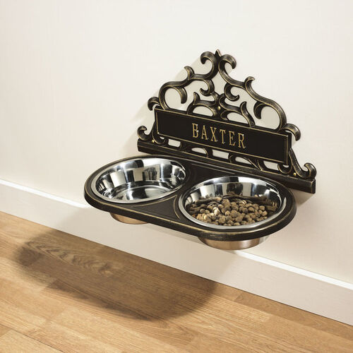 Personalized Scrolled Hanging Double Pet Feeder