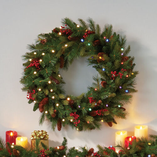 cordless led pre lit christmas wreath at brookstone buy now. Black Bedroom Furniture Sets. Home Design Ideas
