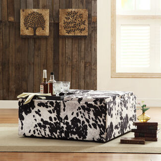 Home Creek Cowhide-Print Storage Cocktail Ottoman