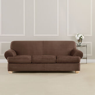 Ultimate Heavyweight Stretch Faux Suede 3 Separate T-Cushioned Sofa Slipcover