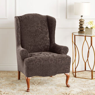 Stretch Jacquard Damask Wing Chair Cover