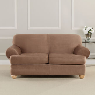 Ultimate Heavyweight Stretch Faux Suede T-Cushioned Loveseat Slipcover