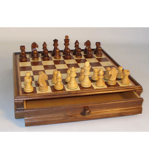 Wood Inlaid Chest and Chessmen