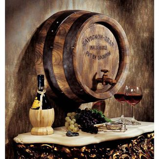 "18"" French Wine Cast Resin Hand-Painted Antique Barrel Wall Sculpture with Staves and Hoops"
