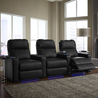 Turbo Recline Leather 3-Row Theater Seating with Accessory Dock and Removable Swivel Tray Tables
