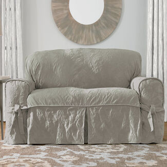 Matelasse Damask Love Seat Cover