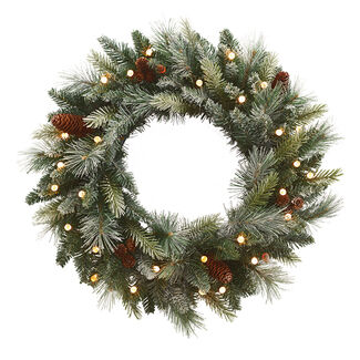 Cordless Pre-Lit Snow Flocked Wreath