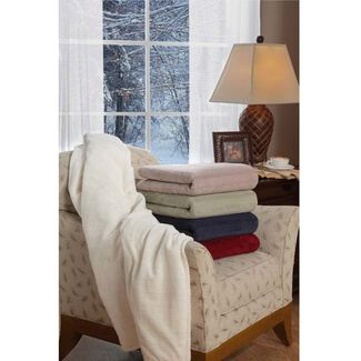 Serta Plush Triple-Rib Heated Throw Blanket