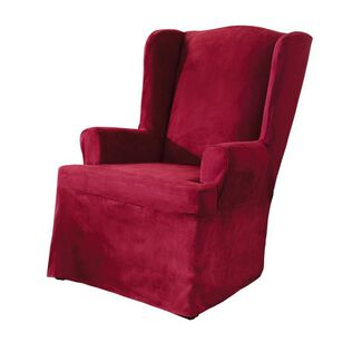 Soft Suede Wing Chair Cover