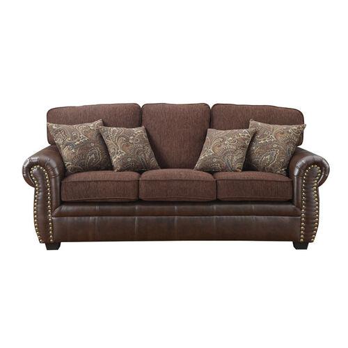 Florence Chenille Fabric & Vinyl Sofa With Nailhead Trim