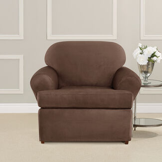 Ultimate Heavyweight Stretch Faux Suede T-Cushioned Chair Slipcover