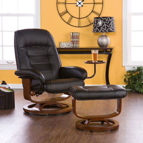 Leather Recliner with Ottoman and Side Table