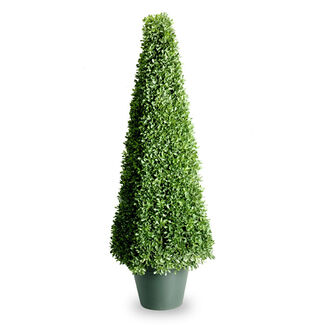 48-Inch Mini Boxwood Square Topiary Tree with Round Plastic Pot
