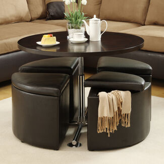 Home Creek Hydraulic Lift Cocktail Table with Storage Ottomans