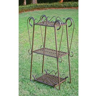 Santa Fe Nailhead Iron Plant Utility Shelf