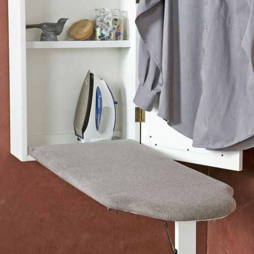 Wall-Mount Ironing Board with Storage Cabinet