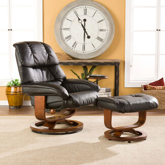 Leather Headrest Recliner with Ottoman and Side Table