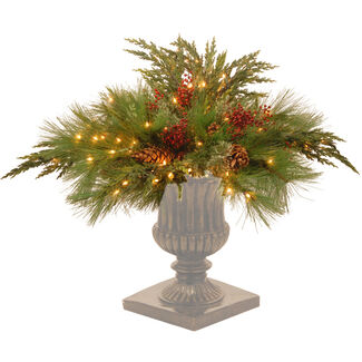 "Decorative Collection 30"" White Pine Urn Filler with Lights"