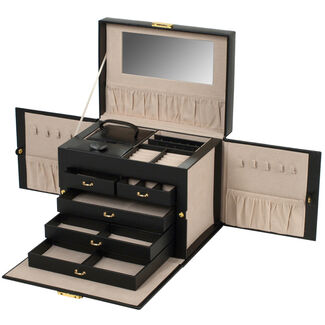 Chelsea Large Jewelry Box with Five Drawers and Travel Case by Wolf