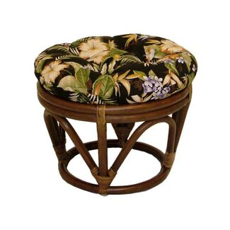 Rattan Papasan Footstool with Polyester Cushion