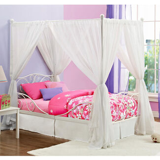 Twin Metallic Canopy Bed with Heart Scrolled Headboard and Footboard