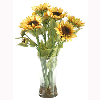 Artificial Sunflowers in Glass Vase