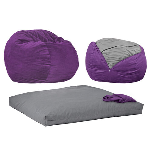 2 Piece Bean Bag Chair Sleeper By Cordaroys At Brookstone