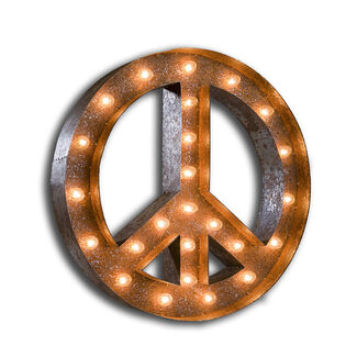 "Vintage Marquee Lights 24"" UL-Approved Peace Sign Lamp and Hanging Bracket"