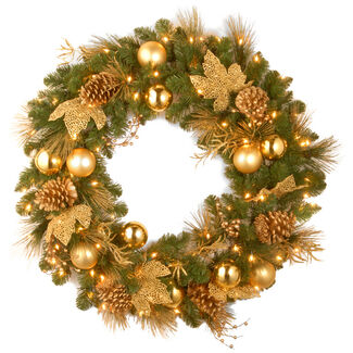 "Decorative Collection 24"" Elegance Wreath with Battery Operated Lights"
