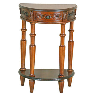 Carved Wood Half-Round 2-Tier Wall Table