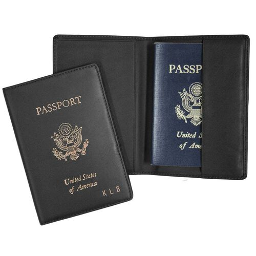 Personalized Royce Nappa Leather Foil Stamped RFID Blocking Passport Jacket