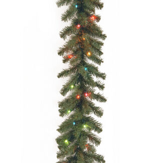9' Kincaid Spruce Garland with Lights