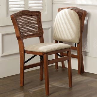 French Cane Folding Chairs, Set of Two