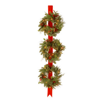 "Pre-Lit 18"" Door-Hanging Triple Wreaths with Clear Lights"