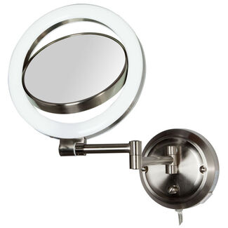 Zadro Dual-Sided Lighted Magnifying Dual-jointed Swivel Wall-Mount Mirror