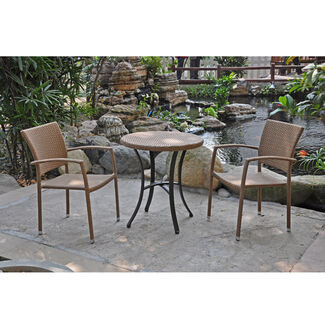 Barcelona Resin Wicker Bistro Table & Chairs Set